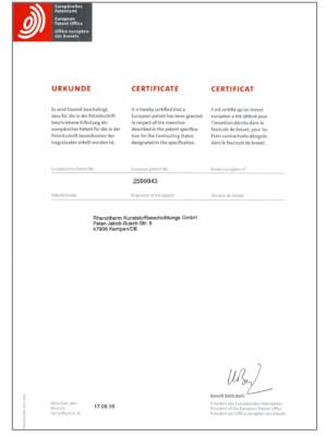 Urkunde Europäisches Patentamt für Antihaftbeschichtungen mit PEEK