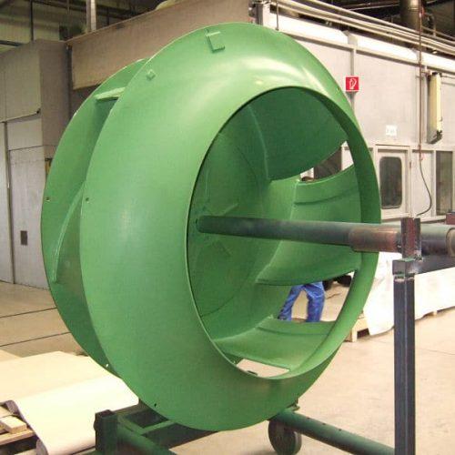 Non-stick coating of fan wheels